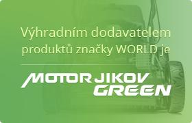 Výhradním distributorem produktů značky WORLD je MOTOR JIKOV GREEN
